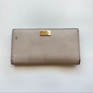 Kate Spade Beige Leather Snap Closure Wallet